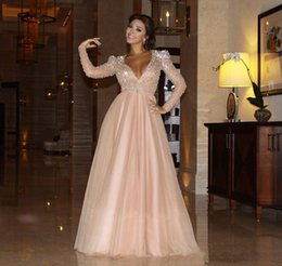 Wholesale Evening Dress Padded - 2017 New Evening Dresses Myriam Fares Long Sleeve Celebrity Dresses A Line Deep V Neck with Beaded Top Padded Shoulder and Tulle Skirt 934