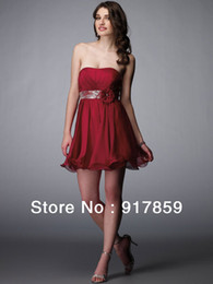 Wholesale Gold Cocktail Dress Empire Style - Style A-line Strapless Short   Mini Chiffon Homecoming   Sweet 16   Cocktail Dress Coral Bridesmaid Dresses