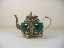 frog carvings Coupons - Exquisite Chinese old handwork collectible teapot inlaid with brass dragon monkey frog