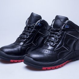 Wholesale Men Wearing Slips - Top Quanlity Men Head Layer Litchi Leather Boots Work Wool Shoes Safety Protective Shoes Cold-resistant Non-slip Wear-resistant Rubber Sole