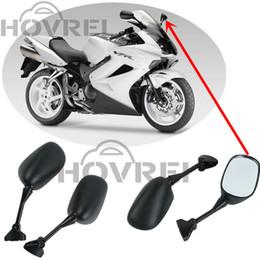 Wholesale Rear View Motorcycle Mirror - 1Pair Motorcycle Accessories Black Rear View Mirror for HONDA VFR800 VFR 800 V-TEC 2002 2003 2004 2005 2006 2005 2006 2007 2008
