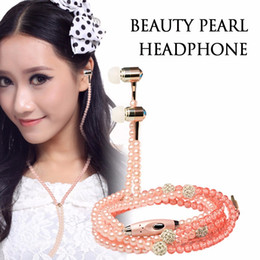 Wholesale Iphone Pearl Pink - Elegant 3.5mm Women Earphones Bling Jewelry Pearl Necklace In-ear Headphones Earbuds Headset 1.2M with Mic Support For iphone Smart Phone