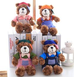 Wholesale Cap Teddy Bear - 30cm small Brand quality short plush bear doll lovely Teddy toy free shipping pet animal toy cute design hot sell cap bear bow tie gentalman