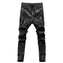 Wholesale Leather Motorcycle Pants 36 - Wholesale- 2017 Newest slim fit men leather pants zipper skinny male trousers elastic waist motorcycle pants 28-36 AYG178