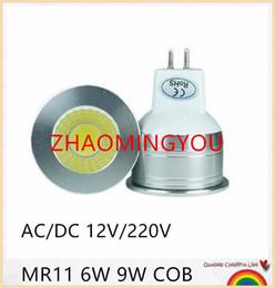 Wholesale 12v mini led bulbs - YON Mr11 COB LED Light Bulb 35mm Diameter 6W 9W 12V 220V Bright Mini COB LED Mr11 Spotlight Bulb GU4.0 Base Lamp