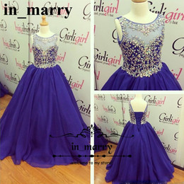 Wholesale Sparkly Pageant Dresses For Girls - Sparkly Crystals Beaded Girls Pageant Dresses 2017 A Line Royal Blue Organza Princess Little Girls Cupcake Flower Girls Dresses For Weddings