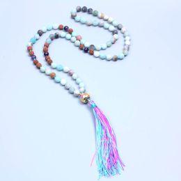 Wholesale Dropship Beads - 8mm Natural Matte Amazonite bead and rudraksha bead Tassel Necklace Women Handmade yoga jewelry free dropship suppliers
