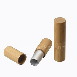 Wholesale Lipstick Containers Wholesale - Natural bamboo design lip balm container lipstick tube DIY cosmetic containers, lip gross tubes, bamboo lip stick makeup bottle