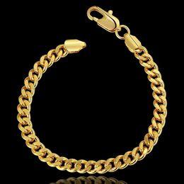 Wholesale Silver Figaro Chains 6mm - 2017 6MM 18k gold plated fashion snake chain Bracelets for men women Link Braceletss figaro jewelry B097