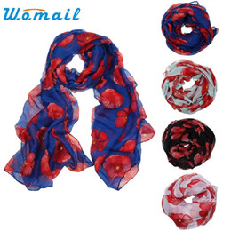 Wholesale flower scarfs - Wholesale- CharmDemon 2016 New Red Poppy Print Long Scarf Flower Beach Wrap Ladies Stole Shawl jn28