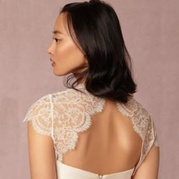 Wholesale Cap Sleeves Wedding Accessories - Romantic Lace Bridal Jackets Wraps Bolero Lace Wedding Jackets Bridal Accessories Wrap Jacket Backless Open Back Illusion Capped Sleeves