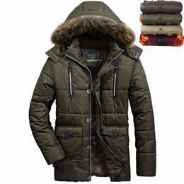 Мода отрезной куртка мужская куртка онлайн-Wholesale- New Thick Warm Winter jacket men outerwear Fashion Detachable Cap With Fur Hoodie Cotton Down Parka Men Coats Size L~4XL