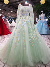 Wholesale Leather Jacket Size 12 - Robe De Soiree Luxury Palace Green Princess Lace Flower Flare Sleeves A-line Long Prom Dress The Banquet Party Evening Gown Arabic