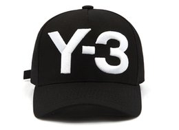 Wholesale Cotton Logo Hats - New Y-3 Dad Hat Big Bold Embroidered Logo Baseball Cap Adjustable Strapback Hats Y3