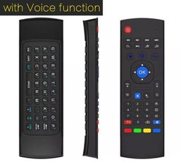 Wholesale G W - 1pcs X3 MX3 T2 X8 W Microphone Mini 2.4GHz Wireless Gyroscope Keyboard Air Mouse Remote G-Sensor Gyroscope For STB Android TV BOX