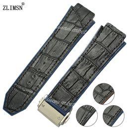 Wholesale Watchband 26mm - Wholesale- 26mm Watchbands Blue Black Band Black Line Leather Rubber Strap Watch Band Classic Fusion Belt Men Women Relojes Hombre 2016
