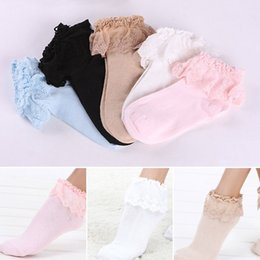 Wholesale White Socks Ruffles - Wholesale- Dashionable Lovely Vintage Retro Froral Lace Ruffle Frilly Ankle Socks Ladies Gift 5 Colors Pink White Khaki
