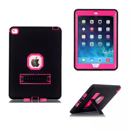 Wholesale Ipad 234 Covers - Kickstand Hybrid Combo Robot Design Protection PC Silicone Dual Color Rubber Skin Stand Cover ipad 234 6 Armor Case for ipad mini 123 air2