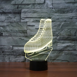 Wholesale Skate Shape - Wholesale- Creative night lighting ice Skate shape 3D Visual lights Touch LED Sleeping lamp 7 changeable colors presents for room decor