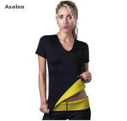 Wholesale Sliming Waist - Wholesale- Aselnn Hot Selling Neoprene Body Shapers Sliming T Shirt For Women Waist Corsets Lose Weight Waist Trainer