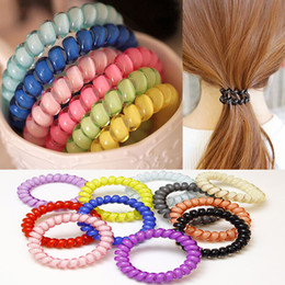 Wholesale Hair Rubber Band Color - Hot Sale Hair Jewelry Women Headdress Girl Hair Ring Rope Elastic Hair Band Candy Color Telephone Wire 13 Color Mix Order Wholesale