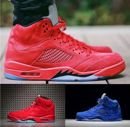 Wholesale Suede 41 - (With Box) High Quality air retro 5 Raging Bull Red Suede blue Suede Men Basketball Shoes retro 5s sport shoes Sneakers eur 41-47