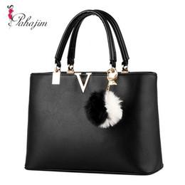 Wholesale Ladys Leather Shoulder Bag - Wholesale- Pahajim 2017 Women V Letters handbags Women Leather tote bag Women's Bolsas Famous Ladys bag