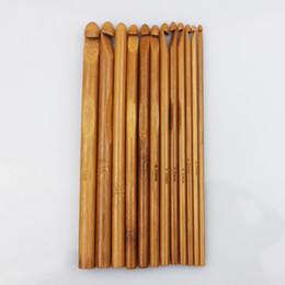 Wholesale 12 Bamboo Crochet Hooks - 12 Sizes Carbonized Bamboo Handle Crochet Hooks Knit Weave Yarn Craft Knitting Needle Free shipping
