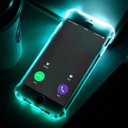 Wholesale Iphone 5s Back Light - Phone Back Case Fundas For iPhone 7 Plus 5 5S SE 6 6S Cover Anti-Knock Soft TPU LED Flash Light Up Remind Incoming Call Cases