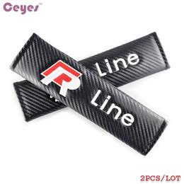 Wholesale Vw Golf Cover - Car Safety Belt Cover for Volkswagen R line vw Carbon Fiber Seat Belt Cover Car Styling 2pcs lot