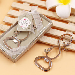 Wholesale Bottle Openers Favors - New Love Forever 8 Shaped Bottle Opener for Wedding Favors Alloy Silver Beer Bottle Openers Event Party Gifts Wholesale 100PCS DHL Free