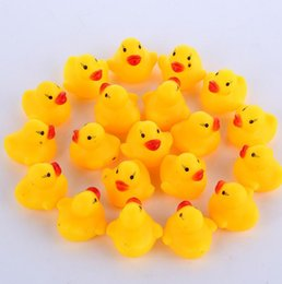 Wholesale Infant Bath Toys - Baby Bath Toy Sound Rattle Children Infant Mini Rubber Duck Swimming Bathe Gifts Race Squeaky Duck Swimming Pool Fun Playing Toy KKA2009