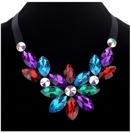 Wholesale Gemstone Statement Necklace - Trendy Floral Womens Collar Necklaces Geometric Manmade Gemstone Silver Tone Statement Necklaces Gifts For Her Chokers Necklaces