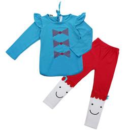 Wholesale Designer Shirts Children - Wholesale- Nice kids designer brand kids 2015 Cute Kids Girl Long Sleeve Bowknot Shirt Pant Suit ropa de ninas children set #ML15