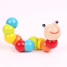 Wholesale caterpillars baby toys - Wholesale- Hot 2017 17cm Hot wooden Cute caterpillars toy for baby kids educational colours developmental toys Kids Best birthday gift Doll
