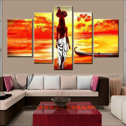 Wholesale Decorative Figure Painting Oil - Unframed Hand Painted abstract Modern Wall Painting african girl Home Decorative Art Picture Paint on Canvas
