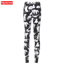Wholesale Cat Leggings Woman - Wholesale- HIPSTERME Plus Size Women breathable Leggings Pants Work out Fat Cat Printed Casual Sexy Bottom Fitness Leggings