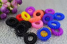 Wholesale Telephones Wholesale - Women Hairband Girl Headband Telephone Cord Elastic Ponytail Holders Hair Ring Scrunchies For Girl Rubber Band Tie A040