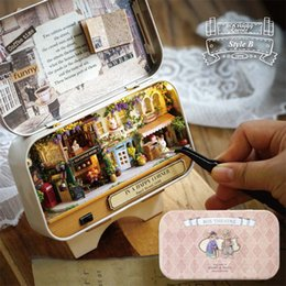 Wholesale Diy Wood Dollhouse Kits - Wholesale- In A Happy Corner 3D Wooden DIY Handmade Box Theatre Dollhouse Miniature Box Cute Mini Doll House Assemble Kits Gift Toys