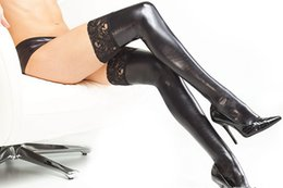 Wholesale Sexy Original Dress - Women Sexy Faux Leather Latex Lace Long Stockings Fetish Clubwear Pole Dance Dress Accessories Stretchable Netherstock Socks Erotic