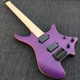 Wholesale Headless Electric Guitars - Custom Strandberg Boden OS 6 String Trans Purple Flame Maple Top Headless Electric Guitar KD Patent Bridge Black Hardware Maple Neck