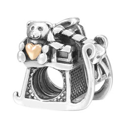 Wholesale Animal Bear Charm - Authentic 925 Sterling Silver Bead Charm Cute Santa's Sleigh & Gold Heart Bear Beads Fit Women Pandora Bracelet DIY Jewelry HKA3438