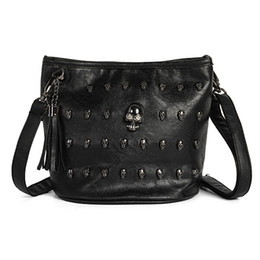 Wholesale Skull Rivets For Leather - 2015 New Fashion Skull Face Rivet Shoulder Bag PU Leather Tassels Vintage Messenger bag Tote Handbag For Women Girl bolsa feminina