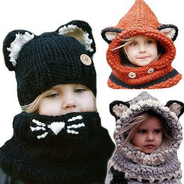 Wholesale Protect Pc Free - Winter Warm Hat Woolen Hat Fox Children Caps Protect Ears Baby Hats Scarf Neck Wrap Set High Quality 50 PCS YYA480