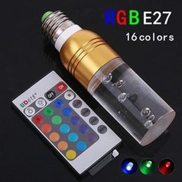 Wholesale 16 Candles - RGB 16 color LED crystal lamp cylindrical light remote control color light E273W colorful energy saving light bulb
