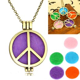 """Wholesale Wholesale Logo Lockets - Stainless Steel Perfume Necklace Essential Oil Diffuser Peace Logo DIY Pendant Locket Necklace With 23.62"""" Chain Free DHL B431Q"""