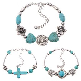 Wholesale Turquoise Butterfly Bangle Bracelet - Wholesale- Women's Boho Style Butterfly Turquoise Beads Handmade Bangle Cuff Bracelet