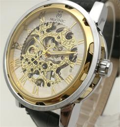 Wholesale Cheap Dress Watches - Mechanical Watch Factory Direct Cheap Men's Leather Strap Watch China Guangzhou Fashion Brand MUONIC Copy Watch