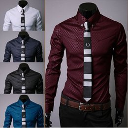 Wholesale Wholesale Slim Fit Shirts - Wholesale- Men's Luxury Casual Shirts Slim Fit Dress Shirts Long Sleeve Button Shirts Tops