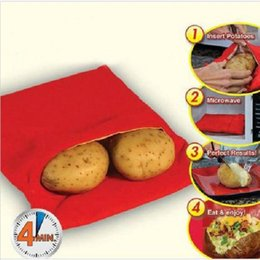 Wholesale Fast Cooker - Wholesale- Red Washable Cooker Bag Baked Potato Microwave Cooking Potato Quick Fast (cooks 4 potatoes at once) Ma